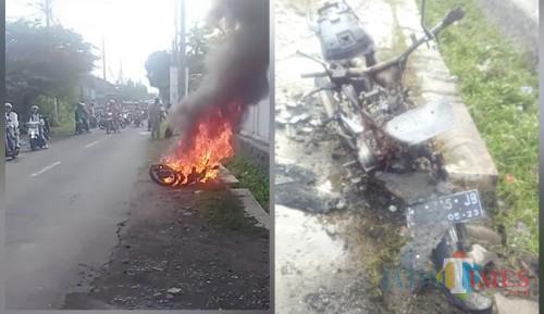 Kondisi sepeda motor saat terbakar. / Foto : Istimewa / Tulungagung TIMES