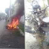 Sedang Dikendarai, Sepeda Motor Milik Wanita ASN Dinsos Ini Terbakar
