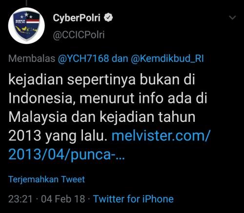 Klarifikasi dari CyberPolri di Twitter 2018 silam. (Foto: istimewa)