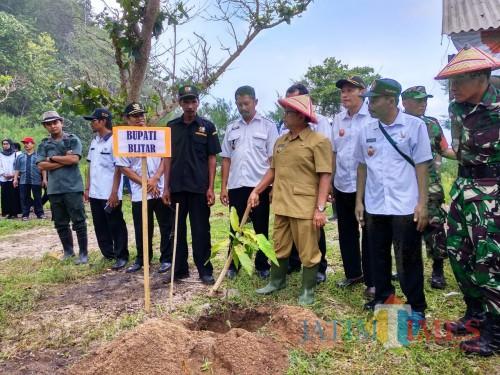 Bupati Blitar Rijanto memimpin penghijauan di kawasan Pantai Bukit Indah.(Foto : Malik Naharul/BlitarTIMES)