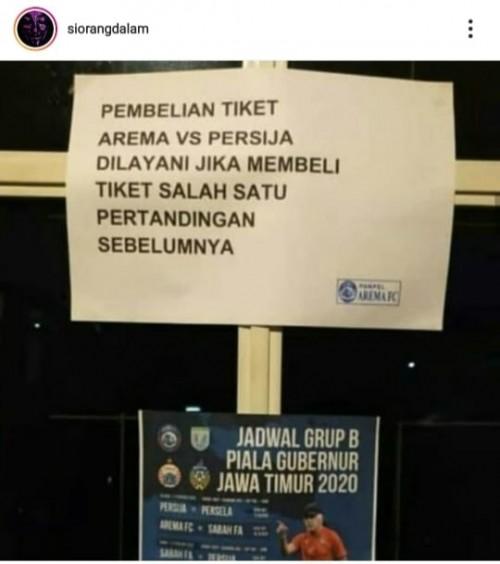 Postingan akun Instagram siorangdalam terkait pemberitahuan tentang tiket Arema FC vs Persija Jakarta (Instagram siorangdalam)