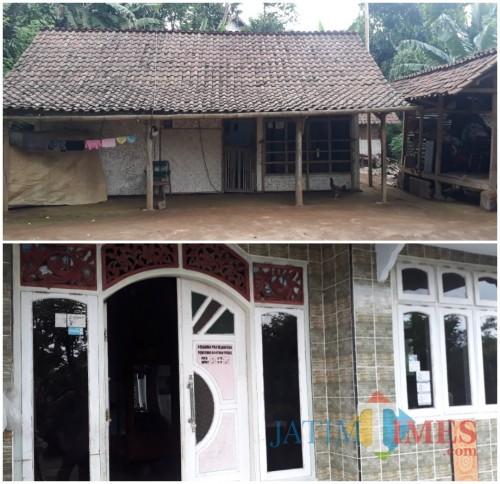 Kondisi rumah Mbah No (atas) yang tidak mendapatkan bantuan PKH, Kondisi rumah Bu Imah (bawah) yang mendapatkan bantuan PKH di Kecamatan Tirtoyudo, Kabupaten Malang. (Foto: Tubagus Achmad/MalangTimes)