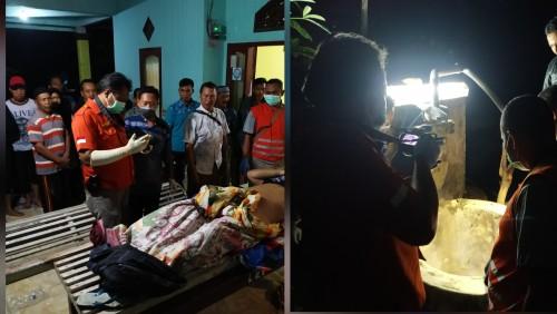 Kondisi jenazah Bandi dan sumur tempat bunuh diri. / Foto : Anang Basso / Tulungagung TIMES