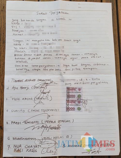 Surat Pernyataan yang dibuat oleh W selaku ibu dari H. (Foto: Tubagus Achmad/MalangTIMES)