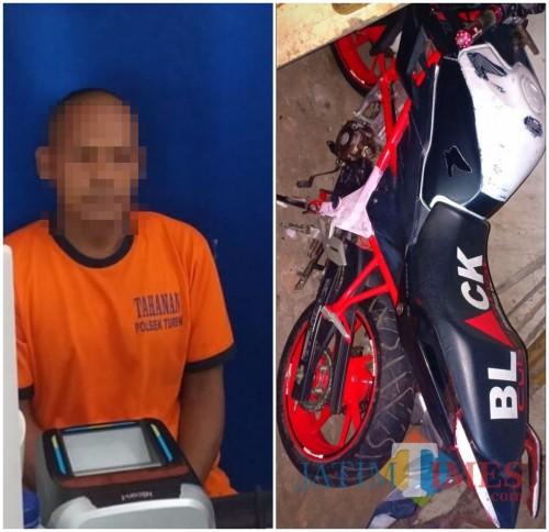 Tersangka Kasenun dan Barang Bukti 1 unit Sepeda Motor yang telah diamankan pihak kepolisian.