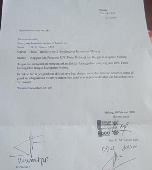 Surat pengunduran Sanusi dari PKB (Ist)