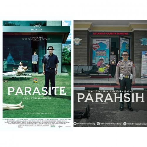 Perbandingan poster film 'Parasite' (kiri) dengan plesetannya (kanan) (Foto: Istimewa)