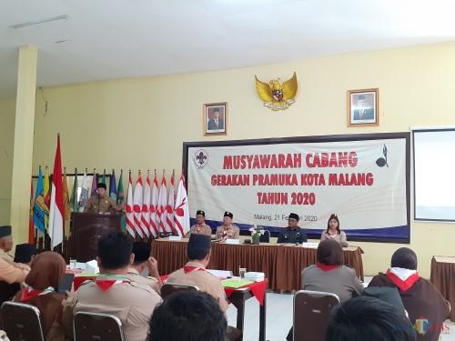 Suasana acara Musyawarah Cabang Gerakan Pramuka Kota Malang, Jumat (21/2) (Arifina Cahyanti Firdausi/ MalangTIMES)