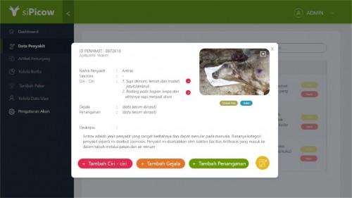 """Tampilan aplikasi """"siPicow"""" untuk mendekteksi penyakit hewan ternak. (Foto: Istimewa)"""