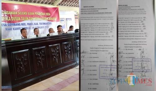 Ujian perangkat dan hasil ujian di desa Gombang Kecamatan Pakel Kabupaten Tulungagung (Foto: Anang Basso / TulungagungTIMES)