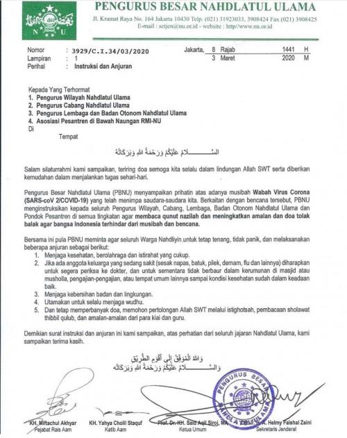 Surat Instruksi dan Anjuran resmi yang dikeluarkan oleh Pengurus Besar Nahdlatul Ulama. (Foto: Instagram nahdlatululama)