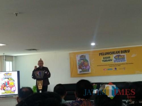 Bupati Malang H.M. Sanusi yang memberikan sambutan pada peluncuran buku komik destinasi wisata berjudul 'Si Juki Petualangan di Malang, Bromo-Tengger-Semeru'.