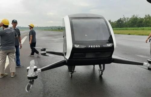 Frogs 282 Drone Taksi milik perusahaan Start Up asal Bantul yang sedang dalam tahap peecobaan penerbangan.