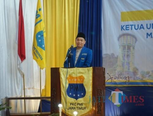 Ketua Umum PB PMII Agus Mulyono Herlambang saat memberi sambutan. (Foto : Adi Rosul / JombangTIMES)