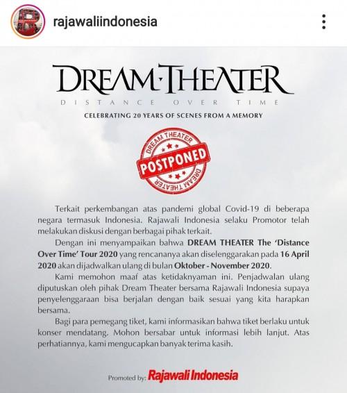 Rilisan resmi dari promotor Rajawali Indonesia mengenai penjadwalan ulang konser tur Dream Theater di Indonesia. (Foto: Instagram rajawaliindonesia)