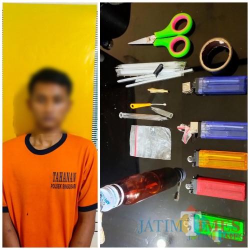 Tersangka Ihya' Ulumuddin (23) saat diamankan bersama barang bukti oleh Unit Reskrim Polsek Singosari (Foto: Polsek Singosari for MalangTIMES)