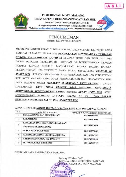 Pengumuman Layanan Administrasi Kependudukan oleh Dispendukcapil Kota Malang (Istimewa).