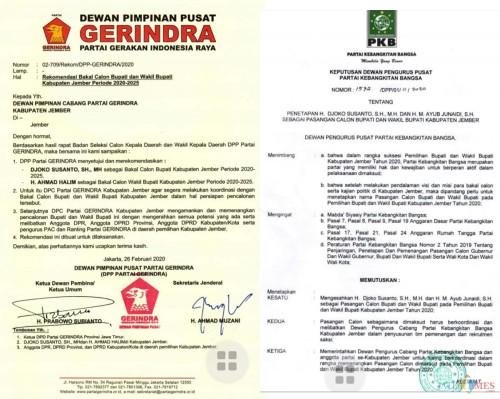 dua surat rekomendasi yang diperuntukan kepada bacabup H. JokoSuyanto (foto ; istimewa / Jatim TIMES)