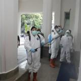 Langkah Waspada Covid-19, Satgas Corona Semprot Balaikota Malang dengan Disinfektan
