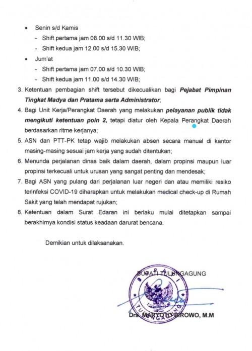 Surat edaran bupati Tulungagung tentang perubahan jam kerja ASN. (ist)