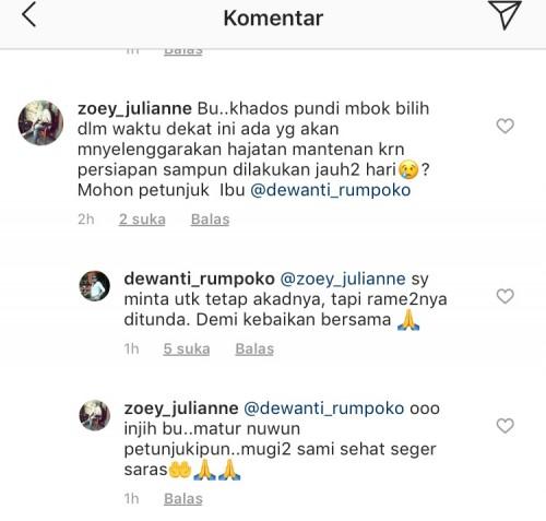 Komentar warganet kepada Wali Kota Batu di instagram. (Foto: screenshot instagram)