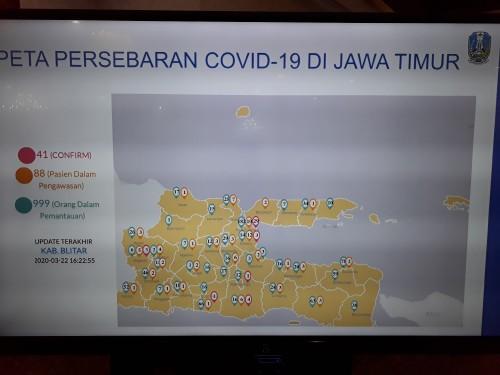 Peta terbaru titik kerawanan penyebaran covid-19 di Jatim.