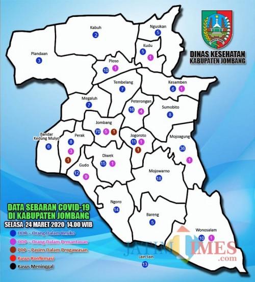Pete sebaran kasus covid-19 di Jombang. (Foto : Infografis Dinkes Jombang)