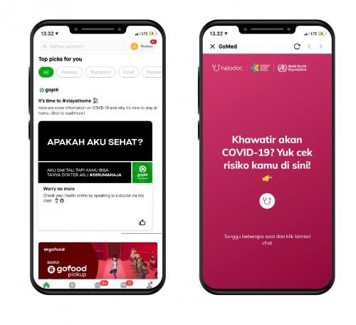 Tampilan shuffle card Check COVID-19 di aplikasi Gojek (kiri) dan Layanan Check COVID-19 di aplikasi Halodoc. (Foto: Gojek)