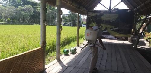 Penyemprotan disinfektan secara mandiri di kampung tematik (istinewa).