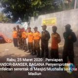 Ansor Semprot Disinfektan Seluruh Masjid dan Musola Se-Kota Madiun