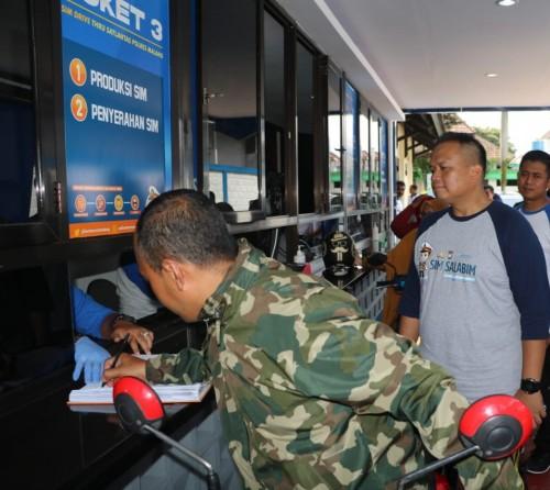 Petugas Satlantas Polres Malang saat memberikan pelayanan SIM