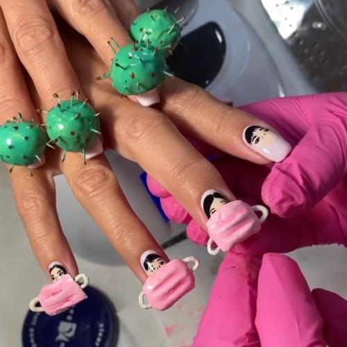 Kreasi nail art 3D bertemakan virus Corona. (Foto: instagram @nail_sunny)