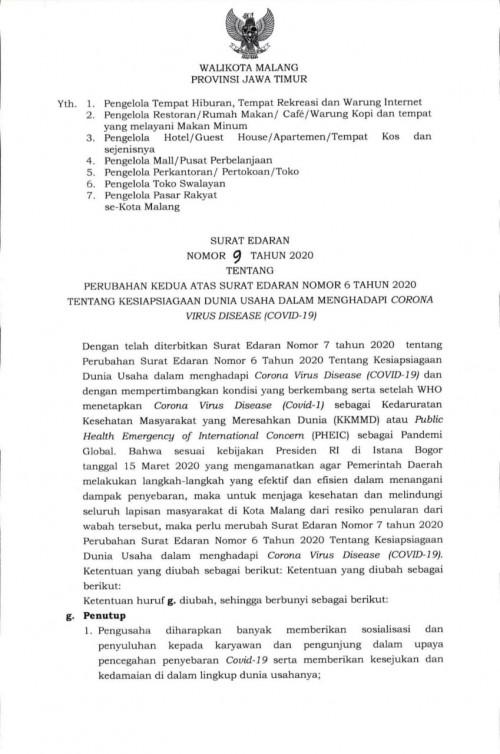 Surat Edaran Wlai Kota Malang (istimewa).
