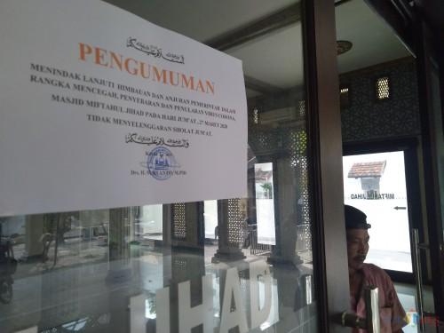Khawatir Jemaahnya Tertular Corona, Masjid di Jombang Tak Menggelar Salat Jumat