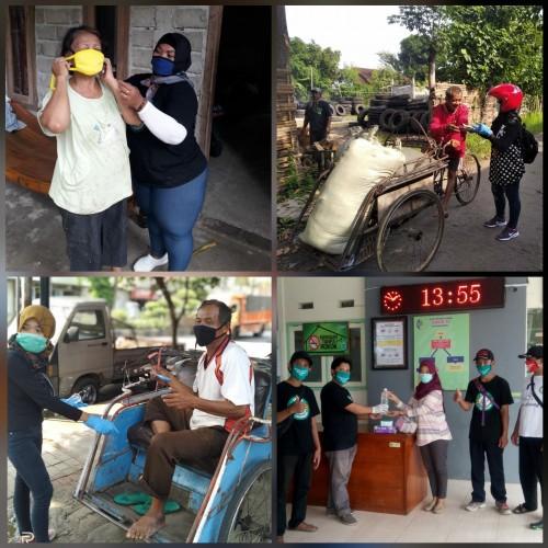 Kegiatan komunitas covid-19 Tulungagung, Icethe dan ILT, saat baksos bagikan APD. / Foto : Istimewa / Tulungagung TIMES