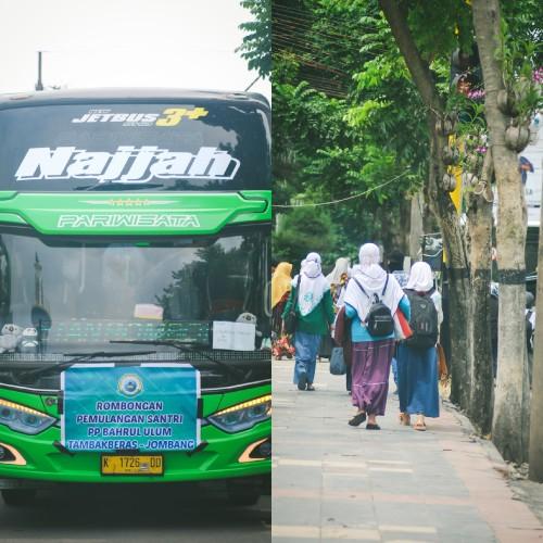 Pemulangan Santri Putri PP Bahrul Ulum Tambak Beras Jombang Kloter 2 di Madiun Diliputi Suasana Haru