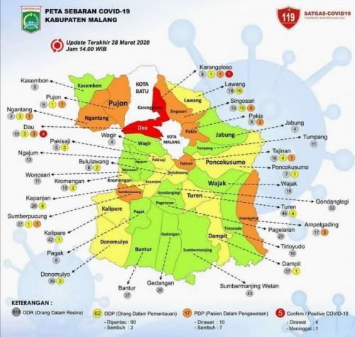 Peta sebaran virus Corona di Kabupaten Malang per 28 Maret 2020 pukul 16.00 WIB kemarin (Ig : Malangkab.info)