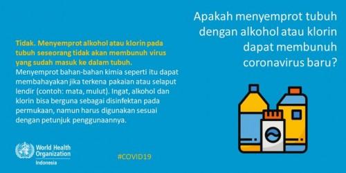 Layar tangkap @WHOIndonesia terkait penyemprotan disinfektan ke tubuh manusia (Ist)