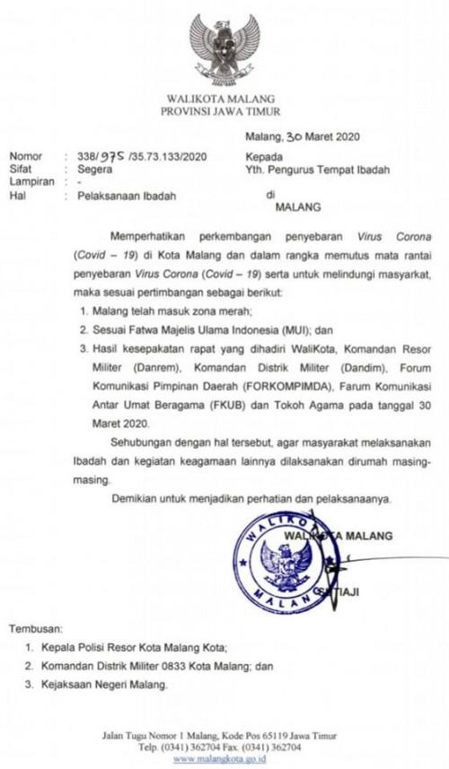 NU-Muhammadiyah Sepakat Imbau Warga Kota Malang Ibadah di Rumah Saja