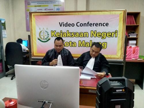Dampak Corona, Sidang Kasus Tipikor Pertama Kalinya Berjalan Online di Kantor Kejari Kota Malang