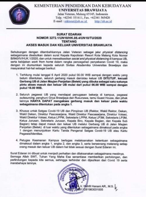 Surat Edaran UB Malang (istimewa).