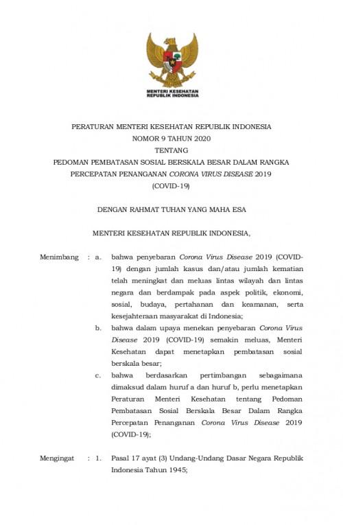 Begini Panduan Teknis Kemenkes RI Bagi Daerah yang Ajukan PSBB