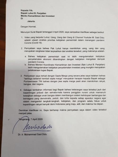 Surat Said Didu untuk Luhut B Pandjaitan (twitter @msaid_didu).