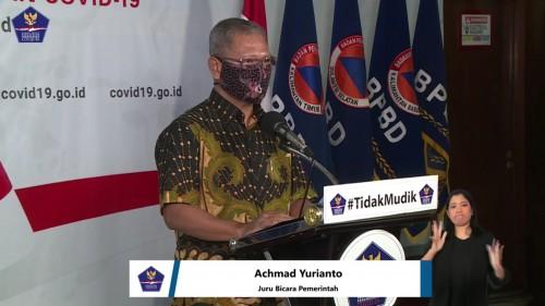 Achmad Yurianto, Juru Bicara Pemerintah terkait persebaran Covid-19 di Indonesia dengan mimbar konferensi bertuliskan #TidakMudik, Jumat (10/4/2020). (Foto: BNPB)