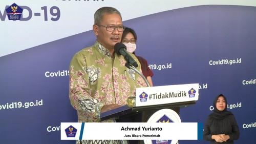 Achmad Yurianto, Juru Bicara Pemerintah terkait persebaran Covid-19 di Indonesia dengan mimbar konferensi bertuliskan #TidakMudik, Selasa (14/4/2020). (Foto: BNPB)