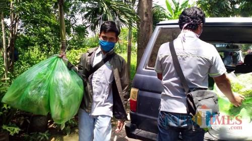 Komunitas Hidroponik Kota Kediri bagikan sayuran untuk masyarakat yang mengisolasi diri karena corona. (Foto: Ist)