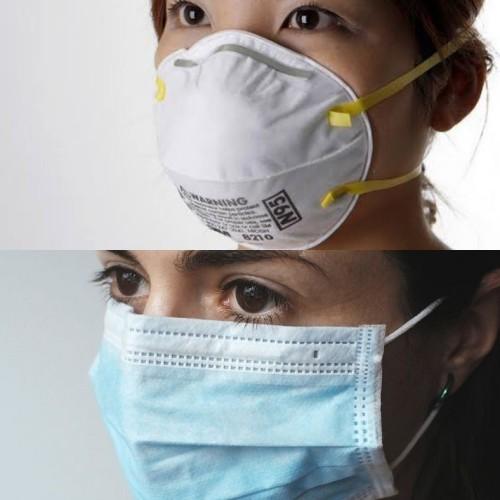 Masker N95 (atas) Masker Bedah (bawah). (Foto:Istimewa)