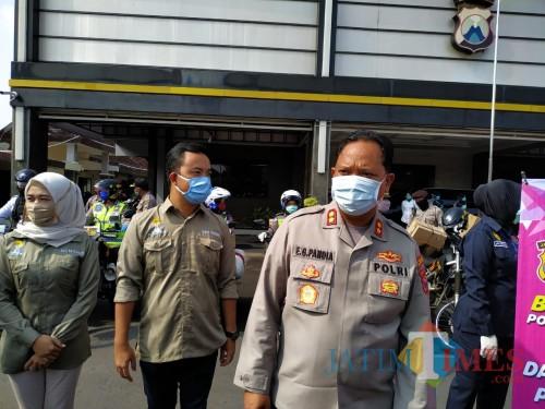 Kapolres Tulungagung AKBP Eva Guna Pandia didampingi Ketum Hipmi Danar Tandianma. / Foto : Anang Basso / Tulungagung TIMES