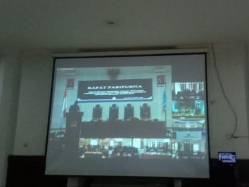 Suasana rapat paripurna DPRD Kota Malang yang digelar virtual. (Foto: Istimewa)