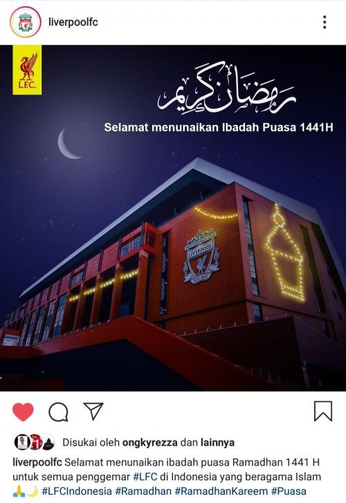 Satu-satunya di Eropa, Liverpool Ucapkan 'Selamat Ramadan' Gunakan Bahasa Indonesia